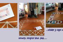 eigen(wijze) ontwerpen en gemaakte interieur- en exterieur objecten / aparte en eigen oplossingen in interieur en meubels: artistieke (stijlinspiraties) op kasten of ander meubilair geschilderd, een eigen vloerkleed ontwerpen en op vloerdelen schilderen, een trap marmeren...en andere creatieve oplossingen voor in huis