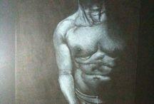 Aion / Dibujos en blanco sobre papel negro