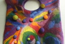 Wool felted bags and scarves