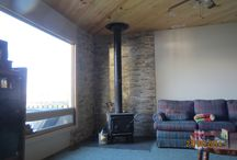 2014 renovation at the cottage and home / New Fireplace Wall and drywall vs old panelling replaced.