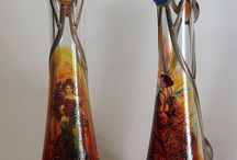 Alphonse Mucha, Vase / Hand-painted decorative vases, product of Czech glass factories.