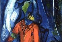 """Chagall / Marc Chagall (1887-1985) was a Russian artist who was an early modernist & created works in virtually every artistic medium. Chagall was considered to be """"the last survivor of the 1st generation of European modernists"""" & respected as the world's preeminent Jewish artist"""".  See the current exhibit at the Jewish Museum in NYC at 92nd & 5th Av. Colors, especially red, much more beautiful in person."""