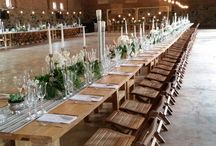 NATURAL TABLE SETTINGS BY GRAND ROOM DESIGN / Reclaimed wooden tables,chairs and all table settings rustic and natural.