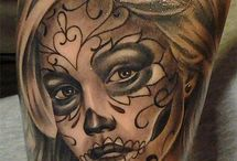 day of the dead skull tattoo's designs, artworks