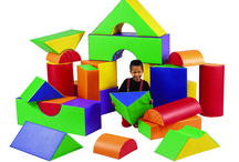 Blocks - Soft Play / Playing with blocks contributes to learning and development, as well as increasing hand-eye coordination and muscle control. http://www.childrensfactory.com/