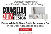 """Dacasso Nominated as a Finalist in New Product Design / Our Daisy White 5 Pc Desk Set has been nominated as a finalist for the 2017 Counselor's Product Design Awards! Counselor Magazine is published 13 times a year and is considered to be the """"voice"""" of the promotional products industry. Voting has already begun and the deadline is 5/26/2017."""