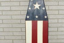 ironing board red whit blue