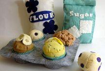 crochet bags - flour, sugar etc