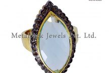 Pave Diamond Gemstone Ring Jewelry