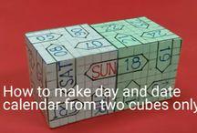 3D cubes calendar / How to make  (DIY) daily display desk calendar at home using 3D cubes made of cardsheet https://www.youtube.com/channel/UC_xMJ7EF_Vn7pDSShG1xEEA
