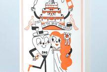 CARTES LETTERPRESS / Cartes doubles imprimées en letterpress et dorure à chaud, livrées avec une enveloppe jaune vif. Illustrations originales pour LETTERPRESS DE PARIS.