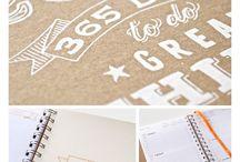 notebooks, planner
