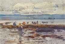 Mariscadores - Pescadores / Eliseo Meifrén Roig. Pinturas al óleo de mariscadores.