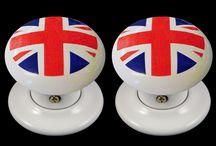 Union Jack Porcelain Door Furniture / Stunnig porcelain door furniture hand decorated with union jack design.