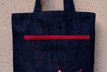 Táskáim / Farmervászonból varrott, egyedi tervezésű, vállra akasztható táska. A képen látható darab megvásárolható, de egyedi kéréseket is teljesítek.
