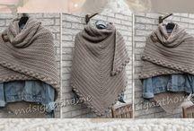 Tücher + Schals, gestrickt u. gehäkelt