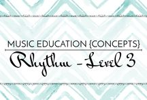 Rhythm Level 3 - Music Education {Concepts} / Songs, activities, resources, and strategies for teaching syncopation, dotted quarter and eighth, dotted eighth and sixteenth, 3-beat meter, and 6/8 meter.  Music Education {Concepts} Rhythm Level 3