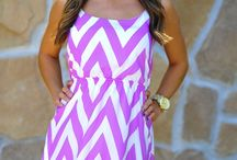 Purple and white chevron style dress