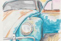 Watercolor vehicles