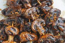 Brochettes de champignons balsamique et ail