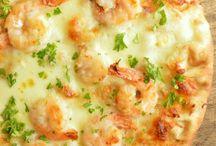 Shrimp scampi flatbread