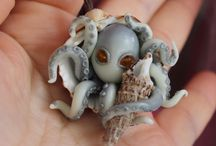 Octopus Pendant & Necklace Jewelry / Pendant & Necklace Jewelry made of polymer clay