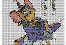 Haft krzyżykowy - Tom i Jerry