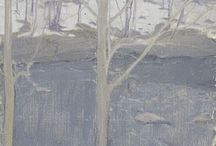 Winter Paintings / Watercolors and oil paintings inspired by wintry palettes and winter landscapes, snowy and cold!