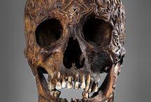 Régi tibeti Skull, gazdagon vésett