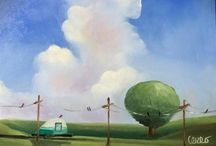 Sally, My Teardrop Trailer / I brought back to life a 1946 tear drop trailer...here are paintings of my teardrop trailer...Sally.