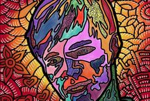 Faces of Change and Inspiration by Marconi Calindas / Artist Marconi Calindas dabbles on black lines and vibrant hues as the trademarks of his distinctive painting style.  Pop icons and triumphs of the human spirit are his favorite muses.  Latest project is FACES OF CHANGE AND INSPIRATION.  Calindas has created works of art inspired by people who have contributed to his personality and his growth as a human being.   https://studiovox.com/companies/studiovoxinc/b/blog/archive/2015/04/16/marconi-calindas