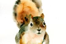 Aquarelle ecureuil