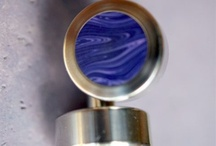 Interesting Gear / Hand Turned Single Piece CuffLinks in Titanium w/ Purple Tru Stone Inlay.  http://vvego.com/ / by Vvego International
