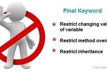 Html, CSS, JavaScript / Final Keyword in Java  Final keyword are used in java for three purpose;  1. Final keyword is used in java to make variable constant 2. Final keyword restrict method overriding 3. It used to restrict Inheritance  http://goo.gl/NFHvx5