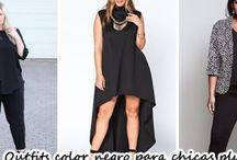 Outfits color negro para chicas plus size