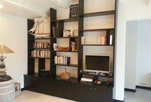 Bibliothèques / Fabrication de votre bibliothèque en bois ou panneaux décor à votre goût.
