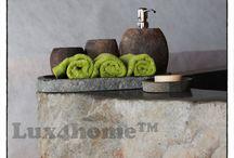 Zestawy łazienkowe z kamienia / Pojemniki na mydło z kamienia, kamienne mydelniczki, kubki na szczoteczki, pojemniki na waciki