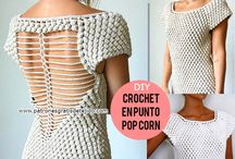 vestido crochet punto pop-corn