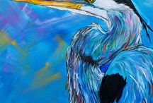 Blue Heron Art Painting by Jen Callahan