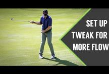 Turn feet out for freer swing