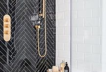Bathroom Dark Blue Withe Gold