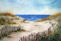 akvarely  moře,pláže