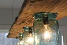 Lampen und Holz selbst gebaut