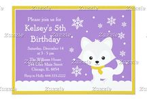 Arctic Winter Fox Purple and Gold / This design features a cute white arctic fox on a purple background. The gold border has a grain effect to it. There are falling snowflakes. It makes a cute winter scene!