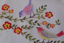 ζωγραφική  σε λουλούδια  και  πουλιά