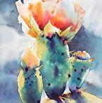 Kaktus och succulent i akvarell