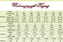 velikosti a značky / háčkování a pletení