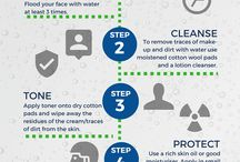 Skinfographics / Infographics showing hints, tips and regimes to help you achieve naturally healthy skin!