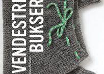 Vendestrik bukser / »Vendestrik bukser« af Hanne Meedom handler om babybukser med plads til bleen og bukser til større børn og voksne med plads til bevægelse. Rummelighed og bevægelsesfrihed i bukserne skabes ved hjælp af en vendestrikket skridtkile. Hæftet indeholder opskrifter til både korte og lange babybukser, børnebukser og voksenbukser. Hanne Meedom har skrevet flere hæfter om vendestrik.