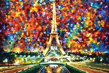 Leonid Afremov / One of the most colorful painters.  When passion meets colors. When the brush strokes tell with intensity.